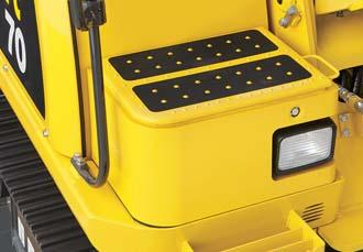 Large Capacity Tool Box Tool box is located on right side of cab.