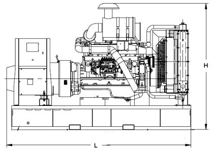 WEIGHT AND DIMENSIONS SKID MOUNTED GENERATOR DIMENSIONS (LxWxH) in 159 x 72 x 85 WET WEIGHT lbs 10,000 SOUND