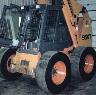 SETCO skid steer tires, lasting 3 to 5 times longer than foam-filled or other solid tires,