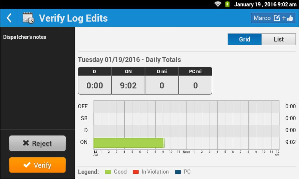 only request edits be made which their dispatcher then performs. When the dispatcher has made a change, the operator is prompted to verify the log edits. Tap Show Logs to continue.