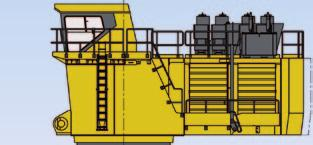 standard wear package (WP2) with hammerless GET system CRAWLER UNDERCARRIAGE Heavy-duty shovel type undercarriage Centre carbody 2 heavy box-type track frames 7 bottom rollers and 3 top rollers each