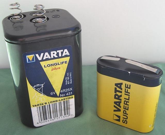 6V lantern batteries (image above) are very large alkalines made of a couple large cells, they're rather convenient in that they're available in many stores, have massive capacity and capability and