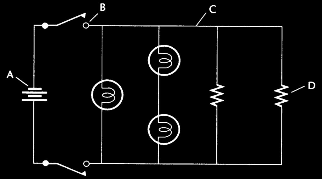A - battery B - switch C