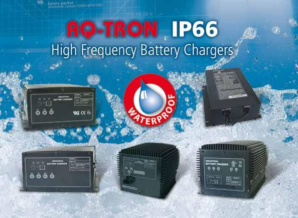 industrial batterie chargers 2 1 3 4 5 Waterproof High Frequency built-in charger IP66 For open lead-acid & gel batteries - Cooling through fins, waterproof class IP66 - LEDs indicate the charge