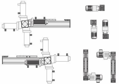 left Integrated planetary reduction gearbox right left + integrated coupling for connecting shaft right left Coupling and coupling cone right