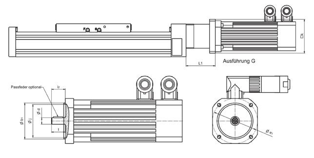 Design G Feather key (optional) Linear axis Motor model e1 min. e1 max. b1 min. b1 max. d min. d max. i2 max. i2-l max. k L1 max.