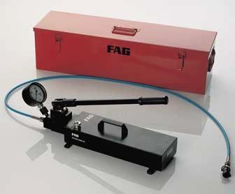FAG Hand Pump Sets 1600 bar Pressure generators for the hydraulic method FAG hand pump sets 1600 bar These hand pump sets are suitable for mounting and dismounting rolling bearings and for mounting