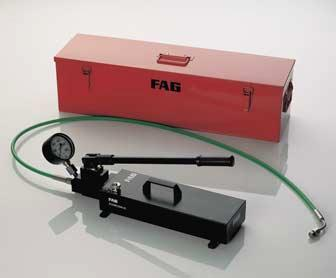 FAG Hand Pump Sets 2500 bar Pressure generators for the hydraulic method FAG hand pump sets 2500 bar These hand pump sets are suitable for mounting and dismounting rolling bearings and for mounting