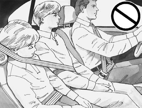 {CAUTION: Never do this. Here two children are wearing the same belt. The belt can t properly spread the impact forces. In a crash, the two children can be crushed together and seriously injured.