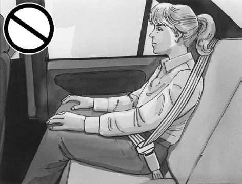 {CAUTION: Never do this. Here a child is sitting in a seat that has a lap-shoulder belt, but the shoulder part is behind the child.
