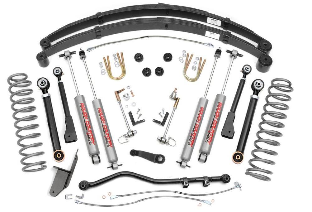 Kit Includes: KIT CONTENT 9269-Front Coil Springs 8047-Rear Springs 6605 Pitman Arm 1042- Forged Adj Track Rod Tie-Rod End Jam Nut Cotter Pin 1633XN2 Kit Box Including: Front Upr Adj Control Arms (2)