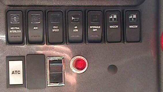 P.T.O. Indicator Light P.T.O. Switch Figure 2 Manual Transmission To shift the P.T.O. in with a Manual Transmission: Depress the clutch pedal. Wait for the transmission to stop rotating. Shift the P.