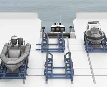 drive system Wheel drive units on manually adjustable brackets Submerged stern ramp with wheel