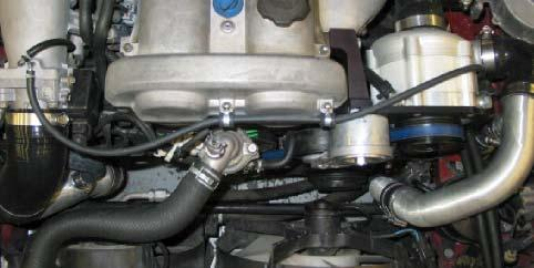 Step 6: Connect bypass valve vacuum port to intake manifold using supplied vacuum hose.