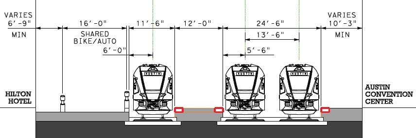 Concept 2 3 platform positions that accommodate (future) 2-car consists Shared-use auto/bicycle access on 4 th St (Sabine to Neches) Pedestrian and