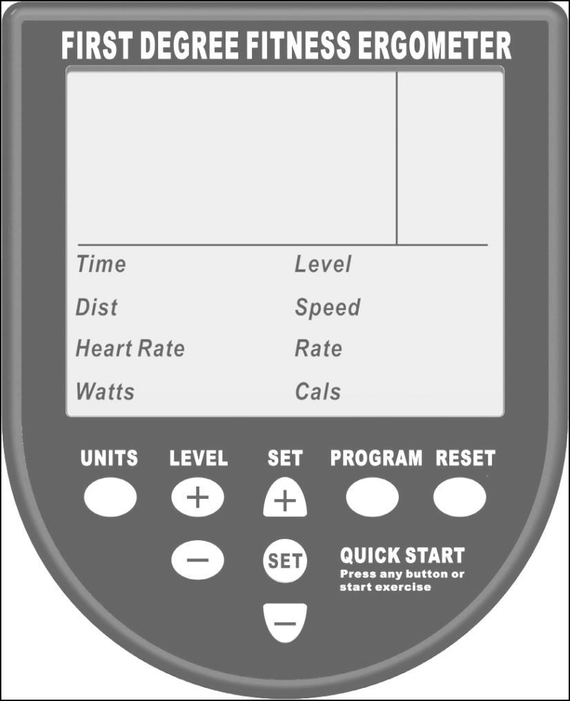 Ergometer Quick start: Provides instant workout information. Just start training to activate.
