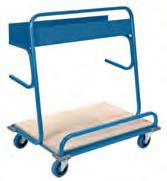 "transporting long and bulky items Welded 14-gauge 12"" x 38"" steel shelf Grey rubber bumpers protect walls and equipment Two rigid and two swivel bolted-on casters Kleton blue enamel finish"