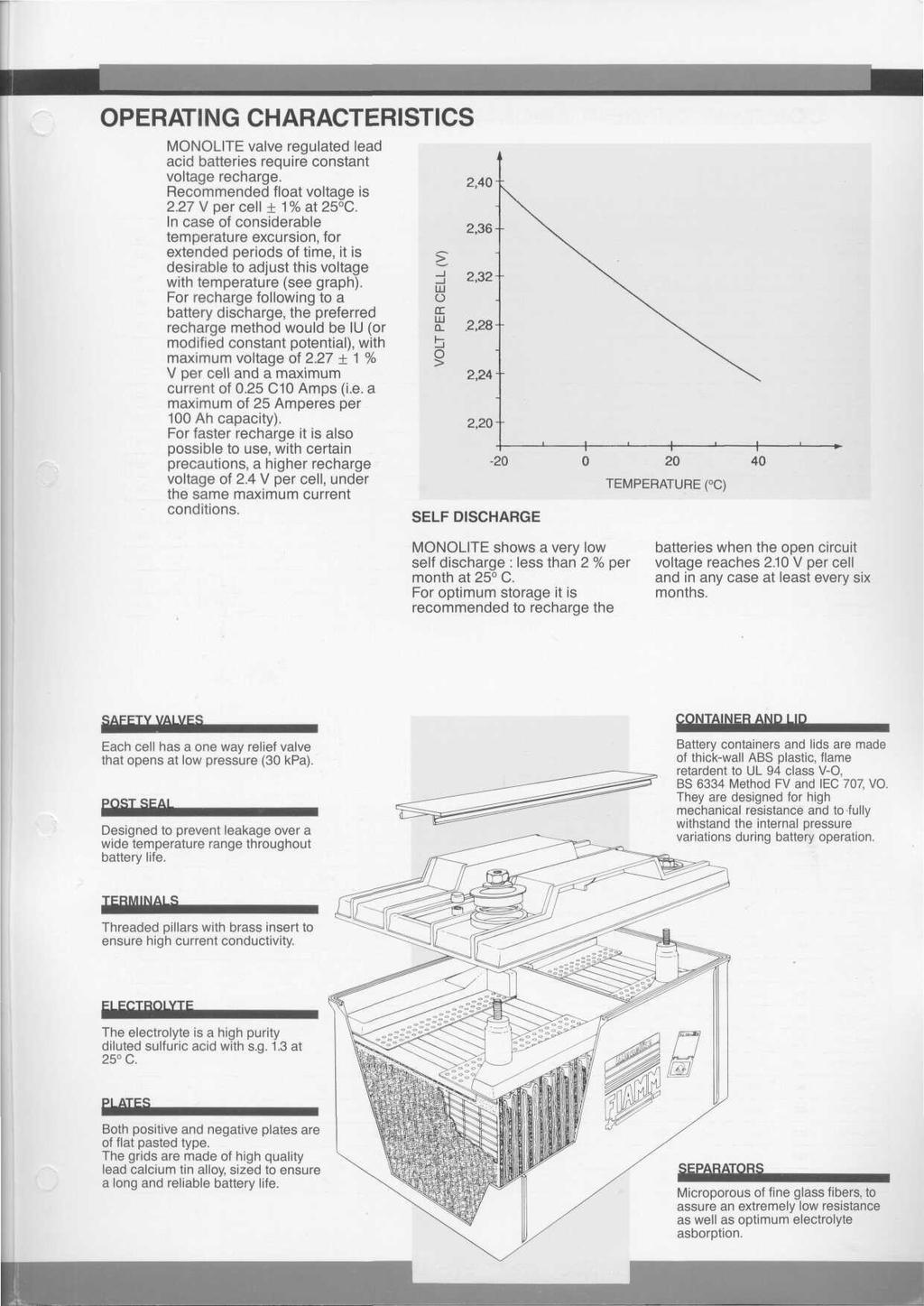 OPERATING CHARACTERISTICS MONOLITE valve regulated lead acid batteries require constant voltage recharge. Recommended float voltage is 2.27 V per cell + 1%at25 C.