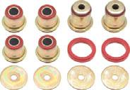 Mixing standard rubber bushings with polyurethane bushings is not recommended, so, if you are going to replace any of the suspension bushings, then replace them all.