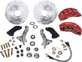 "Disc Brake Conversion Sets clear anodized clear anodized black powder coat black powder coated red powder coat A123ARD 1962-74 Two Piston Drum to Disc Brake Conversion 15"" minimum wheel size."