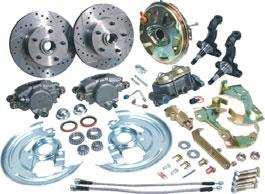 "Includes: disc brake bracket set, 11"" rotors, loaded calipers, spindles, dust shields, bearings, seals, dust caps, spindle nuts, hoses and all mounting hardware."