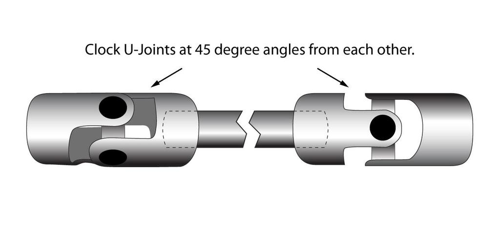 Note: It is imperative when setting up and installing the steering shaft that the shaft does not protrude beyond the end of the u-joint housing.