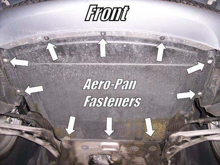 2) Once the vehicle is raised, use a Phillips screwdriver and remove the aero-pan fasteners.