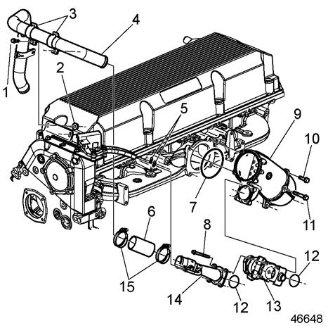 2. Install the venturi, seal and EGR valve onto the EGR mixer and secure to ERG mixer with four bolts. Torque bolts to 30-38 N m (22-28 lb ft). See Figure 18. 1. Bolt 9. Mixer 2. Nut 10. Bolt 3.
