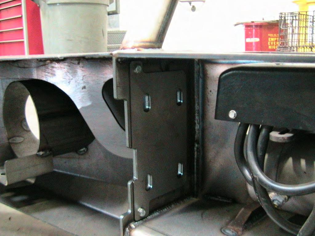 7. Due to the tolerances in the vehicle frame, mounting brackets and the bumper it will be necessary to attach shims to the inside of the bumper to ensure a good fit to the bumper.