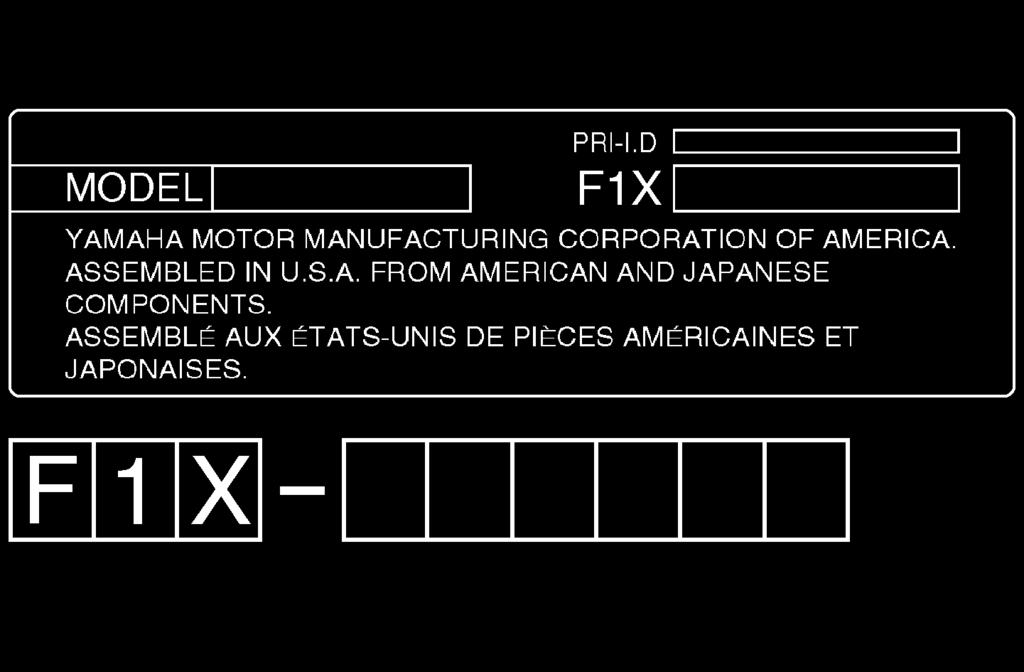 General and important labels EJU30260 Identification numbers Record the Primary Identification (PRI-ID) number, Hull Identification Number (HIN), and engine serial number in the spaces provided for