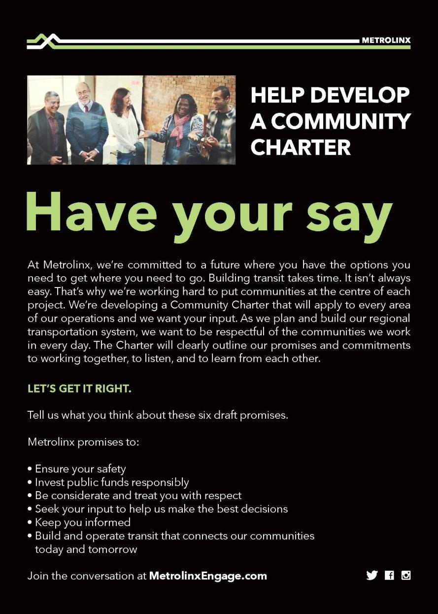 METROLINX COMMUNITY CHARTER In Phase 1 we sought your input on the six themes driving the Community Charter.