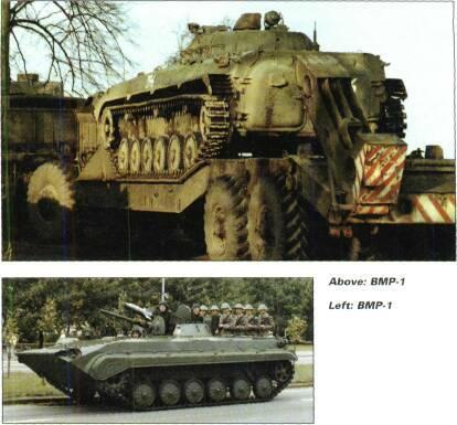TRACKED APCs /WEAPONS CARRIERS BREM-1 and BREM-4, recovery vehicles. BMP-IKShM, unarmed command version of BMP-1. BWP, Polish version of BMP-1.