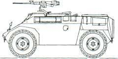 ENGESA EE-3 Jararaca Scout Car (Brazil) KEY RECOGNITION FEATURES Nose slopes back under hull front headlamps recessed, well sloped glacis plate with horizontal roof line, driver's position protruding