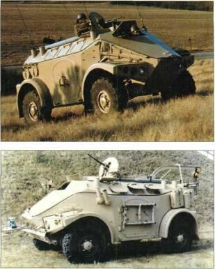 4x4 VEHICLES Left: Panhard M3 (4x4) with twin 7.62mm MG turret Right: Panhard M3 with 7.62mm MG battlefield surveillance radar or RA 205 surveillance radar.