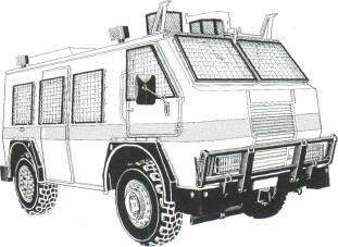 Reumech OMC RG-12 Patrol APC (South Africa) KEY RECOGNITION FEATURES Box type hull with sloping windscreen at front, vertical hull sides and rear, horizontal radiator grille in centre of hull front