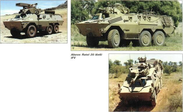 6x6 VEHICLES Ratel 12.7mm command has nine-man crew and two-man turret with 12.7mm MG, 7.62mm anti-aircraft MG and second 7.62mm anti-aircraft MG right rear.
