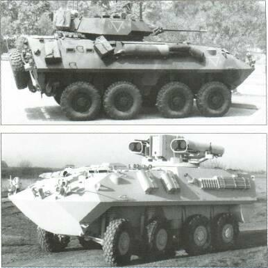 8x8 VEHICLES LAV anti-tank has three-man crew, same turret as M901s. Improved TOW vehicle has two TOW in ready-to-launch position. In service.