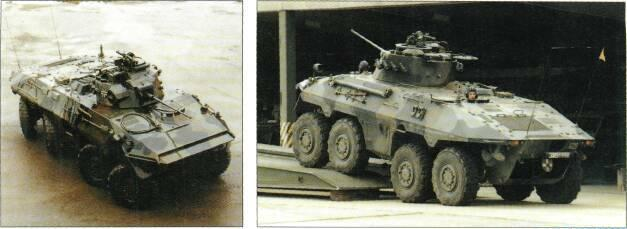 8x8 VEHICLES above commander's hatch on left side. Luchs is fully amphibious, propelled by two propellers mounted rear. Steering is power-assisted and all eight wheels can be steered.