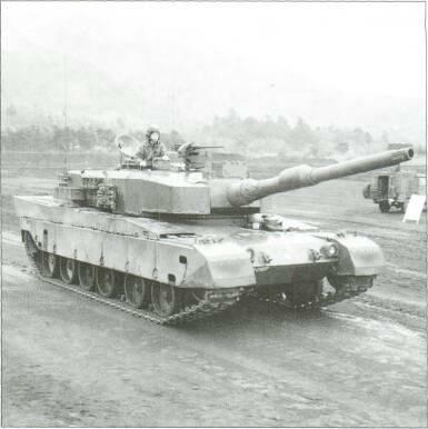 LIGHT TANKS AND MAIN BATTLE TANKS right of the turret with the gunner on the left, no loader is required as an automatic loading system is provided for the 120mm smooth bore gun which fires HEAT-MP