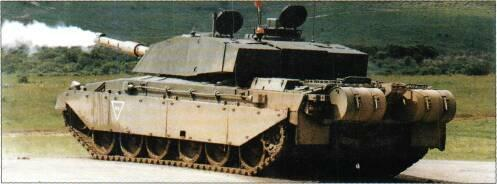 Vickers Defence Systems Challenger 2 MBT (UK) KEY RECOGNITION FEATURES Front idlers project ahead of nose which slopes back under hull front, well sloped glacis plate with driver's hatch recessed in
