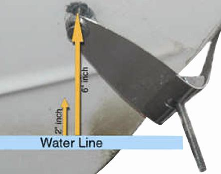 The upper most tip of the prop should be no lesss than 5 (12 cm) below the surface of the water. 2. Remove Two-Sided Tape Remove the two sided tape on the back of the clamp strap.