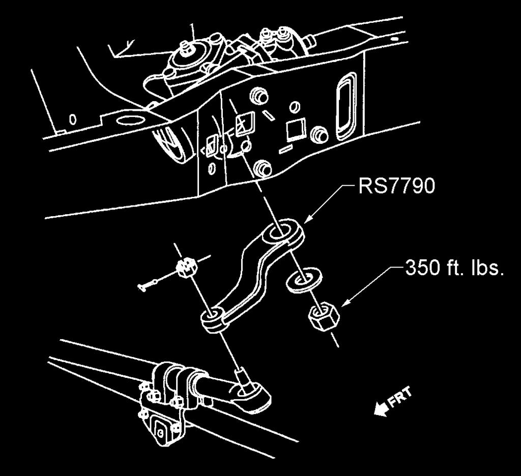 6. Install new pitman arm RS77981 on the sector shaft in the same position as the original arm. See illustration 12. Apply thread lock and tighten the sector shaft nut to 350 ft.- lbs.