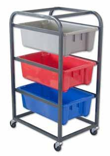 Powder coated steel construction Rubber swivel castors Holds standard stack and nest type tote bins Handy