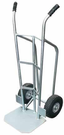 4 5 4 HEAVY DUTY STEEL HAND TRUCK - 250KG Zinc plated steel construction Welded one-piece rimmed wheels Pneumatic tyres or solid tyres Fixed axle