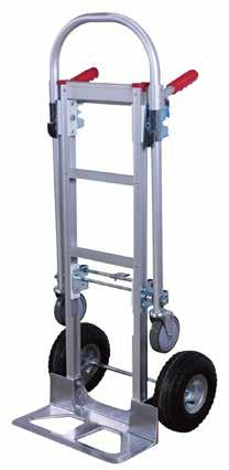 2 IN 1 FOLDING HAND TRUCK Heavy-duty hand truck switches from a 2-wheeled hand