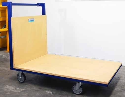 DEXTERS PLATFORM TROLLEY Heavy duty single platform trolley Powder coated steel framework MDF wooden deck and back 5 Precision bearing castors 2 Sizes available TRAY DIMENSIONS TRAY HEIGHT