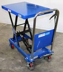 ELECTRIC MOBILE SCISSOR TABLE Lift heavy loads with ease Push button hydraulic lift and lower Large urethane castors for easy moving around Includes battery and automatic charger