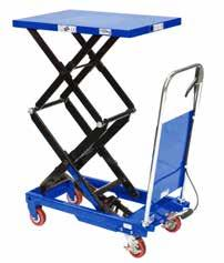 MOBILE SCISSOR TABLE 500KG The table is elevated by a pump action foot pedal and smoothly lowered by a hand operated release trigger Foot operated hydraulic operation Safety overload bypass valve