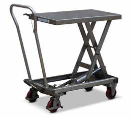 finish DIMENSIONS MIN HEIGHT MAX HEIGHT CAPACITY 53441007 910mm L x 550mm W 350mm 1300mm 300kg STAINLESS STEEL MOBILE SCISSOR LIFT SCISSOR LIFT TROLLEY For food, pharmaceutical, clean room and