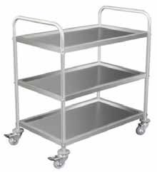 STAINLESS STEEL 3 TIER TROLLEY Stainless steel construction Ideal for food and wet areas Corner bumpers on castors 2 Lockable castors 2